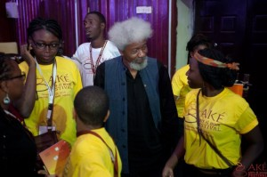 Talking to Prof. Soyinka about his collection of black Converse sneakers.